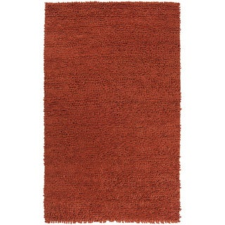Handwoven Saturn Rust Plush Shag New Zealand Felted Wool Rug (9' x 12')