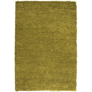 Handwoven Skoda Lime Plush Shag New Zealand Felted Wool Rug (9' x 12')