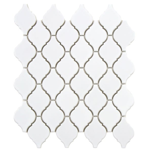 SomerTile 11x9.75-inch Casablanca Glossy White Porcelain Mosaic Tiles (Set of 10)