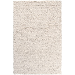 Hand-woven Saab Ivory Plush Shag New Zealand Felted Wool Rug (9' x 12')