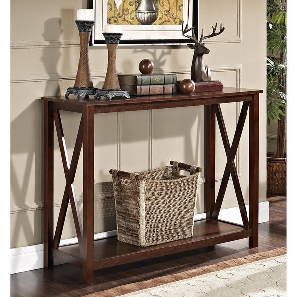 Espresso X-Design Occasional Console Sofa Table