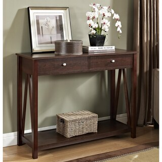 Espresso Console Occasional Sofa Table with Drawer