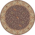 Hand-tufted Passat Brown Wool Rug-(6' Round)