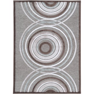 Woven Lynx Grey Blue Geometric Circles Rug (8'8 x 12')