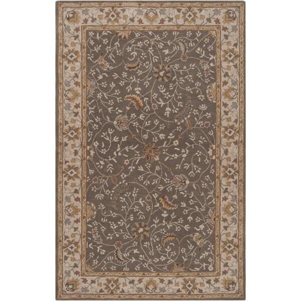 Hand-tufted Passat Brown Wool Rug-(5' x 8')