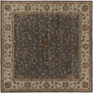 Hand-tufted Passat Brown Wool Rug-(6' Square)