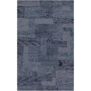 Hand-tufted Dacia Slate Blue Geometric Wool Rug (8' x 11')