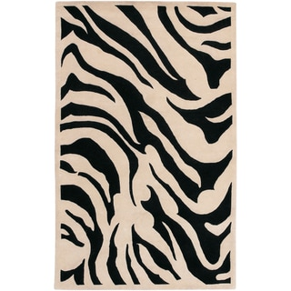Hand-tufted Contemporary Black/White Zebra Oliba New Zealand Wool Rug (12' x 15')