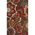 Hand-tufted Aiseau Chocolate Brown Floral Rug (9' x 13')
