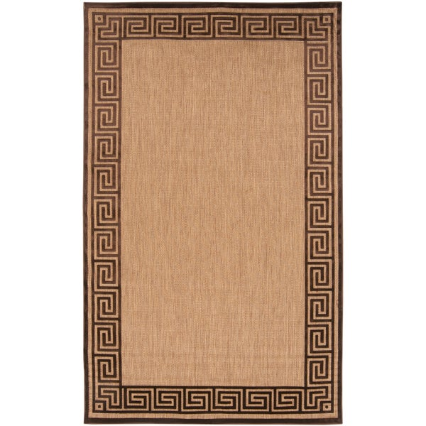 Rovigo Sand Indoor/Outdoor Geo Border Rug (7'10 x 10'8)