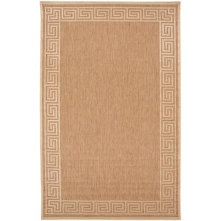 Acireale Wheat Indoor/Outdoor Geo Border Rug (7'10 x 10'8)