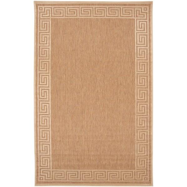 Acireale Wheat Indoor/Outdoor Geo Border Rug (7'10 x 10'8)