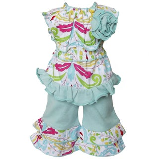 AnnLoren 2-piece Floral Damask Printed Tunic & Capri Set for American Girl Doll