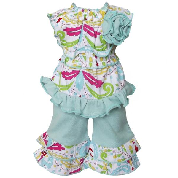 AnnLoren 2-piece Floral Damask Printed Tunic & Capri Set for American Girl Doll