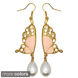 Kate Marie Goldtone Faux Pearl and Cubic Zirconia Butterfly Earrings