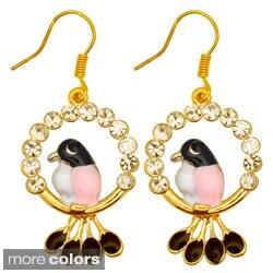 Kate Marie Goldtone Cubic Zirconia Bird Design Earrings
