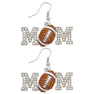 Kate Marie Silvertone Cubic Zirconia Football 'Mom' Earrings