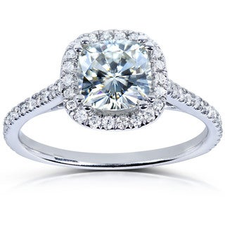 Annello 14k White Gold Moissanite and 1/4ct TDW Prong-set Diamond Engagement Ring (G-H, I1-I2)