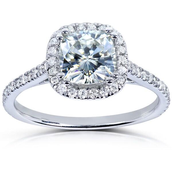 Annello 14k White Gold Moissanite and 1/4ct TDW Diamond Engagement Ring (G-H, I1-I2)