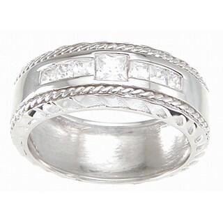 High Polish Rhodium Sterling Silver 8 mm Men's Princess-cut Cubic Zirconia Wedding-style Band