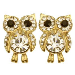 Kate Marie Goldtone Cubic Zirconia Owl Design Earrings