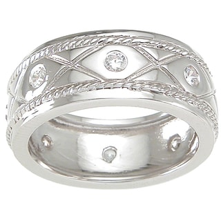 Sterling Silver Men's Round-cut Cubic Zirconia Wedding-style Band