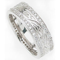 Sterling Silver Men's Cubic Zirconia Wedding-style Band