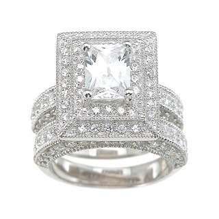 Sterling Silver Cubic Zirconia Bridal-style Ring Set