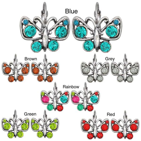 Kate Marie Silvertone Cubic Zirconia Butterfly Design Earrings
