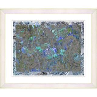 Studio Works Modern 'Summer Field on Lace - Blue' Framed Print