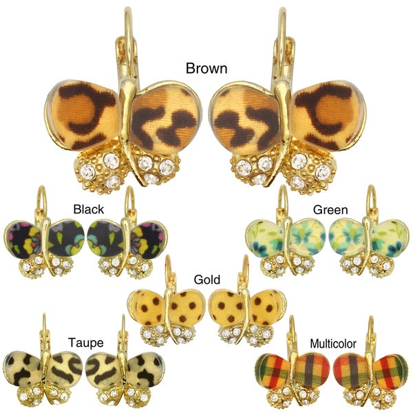 Kate Marie Goldtone Cubic Zirconia and Acrylic Butterfly Earrings