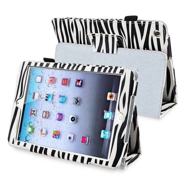 INSTEN Black/ White Zebra Leather Tablet Case Cover for Apple iPad Mini 1/ 2 Retina Display