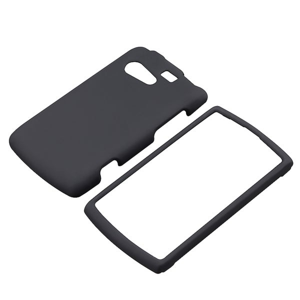INSTEN Black Snap-on Rubber Coated Phone Case Cover for Kyocera Rise C5155