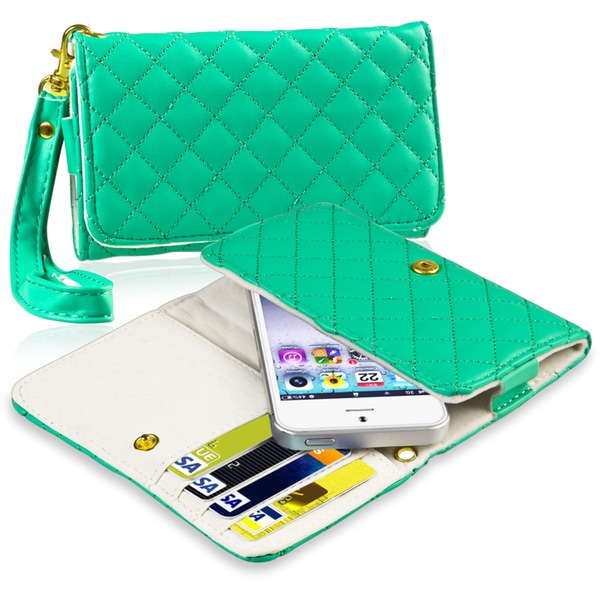 INSTEN Green Universal Leather Wallet Cell Phone Case Cover