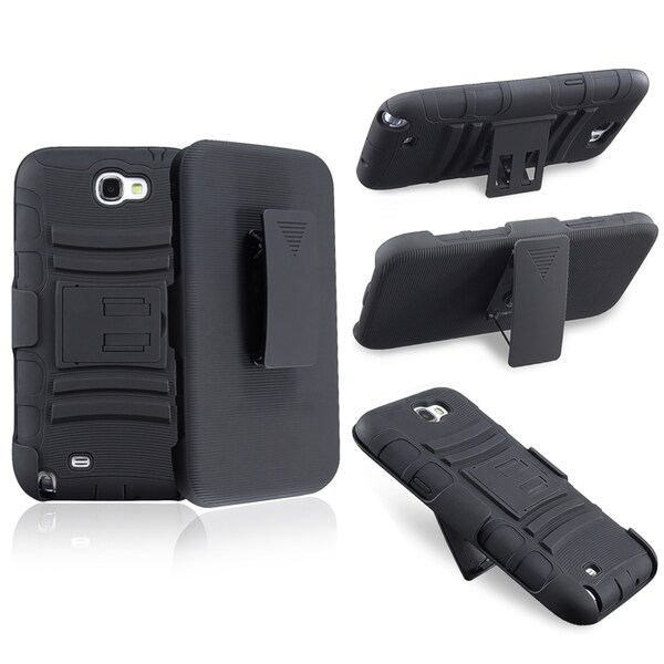 INSTEN Black Hybrid Holster/ Stand for Samsung Galaxy Note II N7100