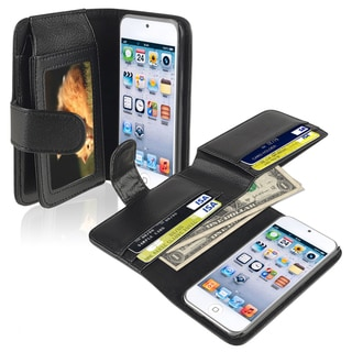 BasAcc Black Leather Wallet Case for Apple iPod Touch 5th Generation