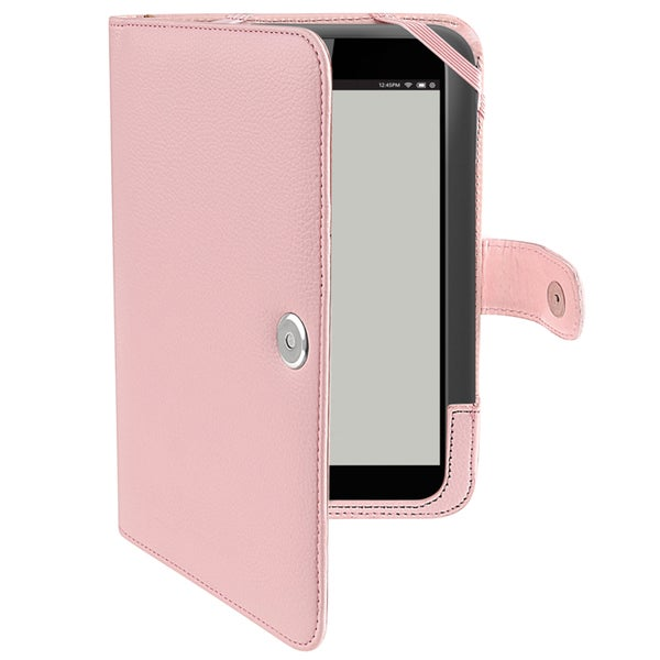 BasAcc Light Pink Leather Case with Barnes & Noble Nook HD