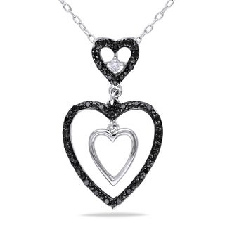 Haylee Jewels Sterling Silver 1/6ct TDW Black and White Diamond Necklace (H-I, I2-I3)