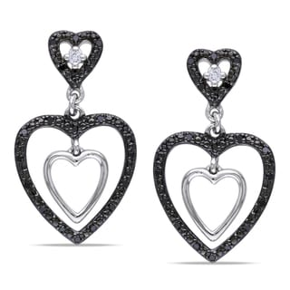 Miadora Sterling Silver 1/6ct TDW Black and White Diamond Earrings (H-I, I2-I3)