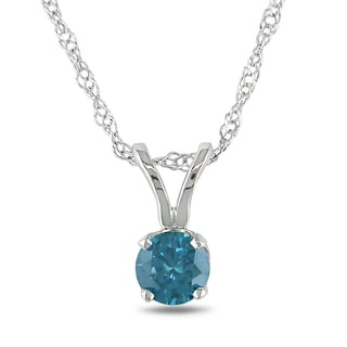 Miadora 14k White Gold 1/4ct TDW Blue Diamond Solitaire Necklace