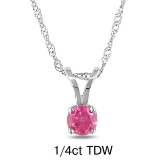 Miadora 14k White Gold 1/4 to 3/4ct TDW Pink Diamond Solitaire Necklace