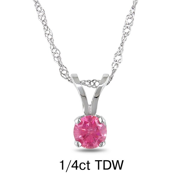 Miadora 14k White Gold 1/4 to 3/4ct TDW Pink Diamond Solitaire Necklace
