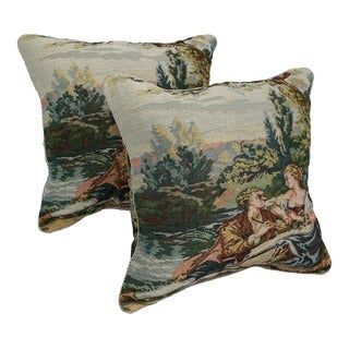 Tapestry Corded Poetry Throw Pillows (Set of 2)