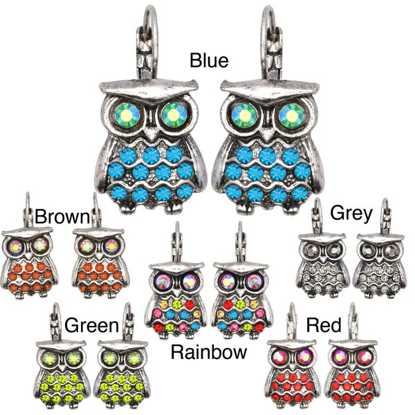 Kate Marie Silvertone Rhinestone Owl Design Earrings