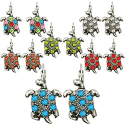 Kate Marie Silvertone Rhinestone Turtle Design Earrings
