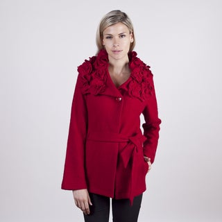 Colour Works Women's Red Petal Collar Boile Wool Jacket
