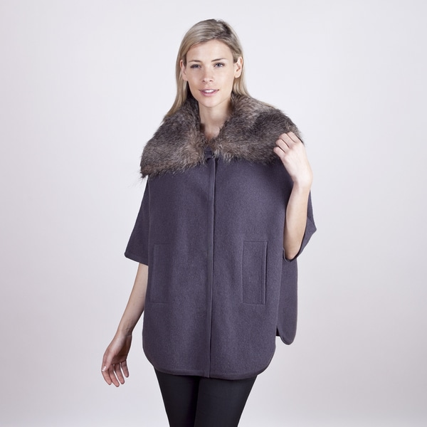 Colour Works Women's Shark Poncho with Detachable Fur Hood