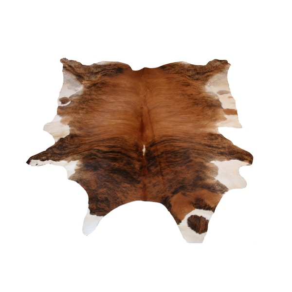 Decenni Custom Furniture 'Brown and Cream Brindle Genuine Cowhide Rug (5' x 7')