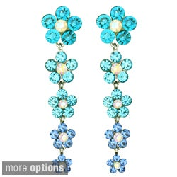 Kate Marie Silvertone Rhinestone and Acrylic Flower Design Earrings
