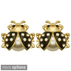 Kate Marie Goldtone Rhinestone Ladybug Design Earrings